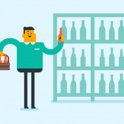 mlody caucasian bialy czlowiek przy alkoholu sklepem 107173 7430